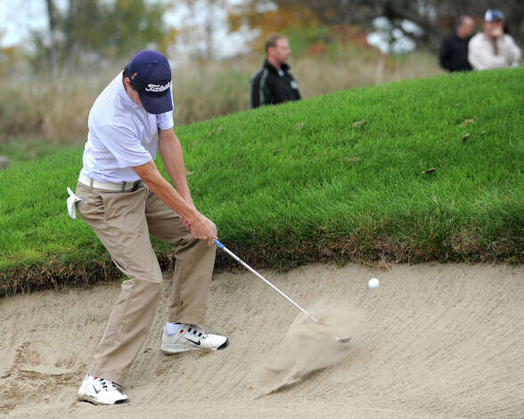 Davis Jensen of Shaker H.S. hits his ball out of a bunker during the Section II A-B-C-D golf championships at Orchard Creek Golf Course Tuesday, Oct. 9, 2012 in Altamont, N.Y. (Lori Van Buren / Times Union) Photo: Lori Van Buren