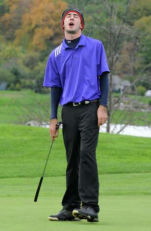 Matt Parrottino of Voorheesville H.S. reacts after missing a putt during the Section II A-B-C-D golf championships at Orchard Creek Golf Course Tuesday, Oct. 9, 2012 in Altamont, N.Y. (Lori Van Buren / Times Union) Photo: Lori Van Buren
