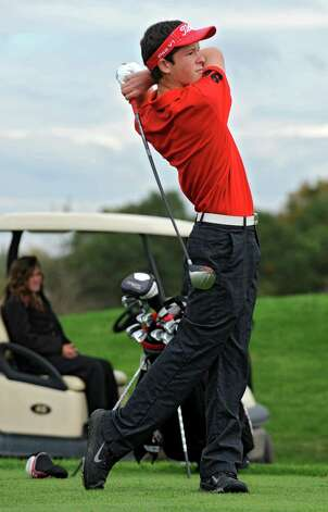 Alex Gibson of Glens Falls H.S. hits a tee shot during the Section II A-B-C-D golf championships at Orchard Creek Golf Course Tuesday, Oct. 9, 2012 in Altamont, N.Y. (Lori Van Buren / Times Union) Photo: Lori Van Buren