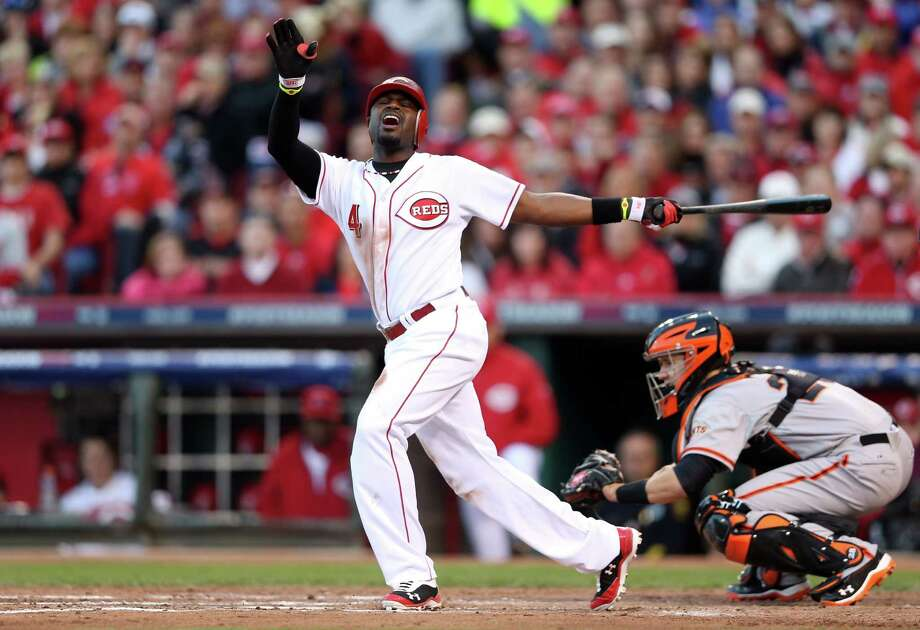 The Reds' Brandon Phillips strikes out in the third, typical of a night when the pitchers dominated with a combined 23 strikeouts and only seven hits allowed. Photo: Andy Lyons / 2012 Getty Images