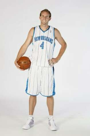 Sean Marks #4 of the New Orleans Hornets poses for a portrait during NBA Media Day on Sept. 26, 2008, in the New Orleans Arena in New Orleans. (Layne Murdoch / NBAE via Getty Images)