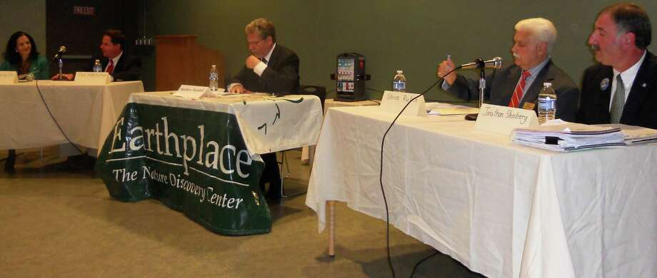 Candidates vying for the two state House of Representative district seats from Westport in the November election participated in a forum on environmental issues Tuesday night at Earthplace. From left:  Gail Lavielle and Ted  Hoffstatter in the 143rd District, moderator Matthew Mandell, and Steve Rubin and Jonathan Steinberg in the 136th District. Photo: Paul Schott / Westport News