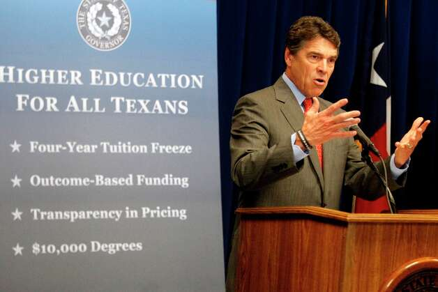 Texas Gov. Rick Perry speaks at the library on the campus of Angelo State University, Wednesday, Oct. 3, 2012 in San Angelo, Texas, concerning the new $10,000 bachelor's degree plan taken on by the university after a challenge was issued from the governor's office in February 2011. The degree is supposed to allow for more affordable college education for Texas students. Photo: Patrick Dove, Associated Press / San Angelo Standard-Times