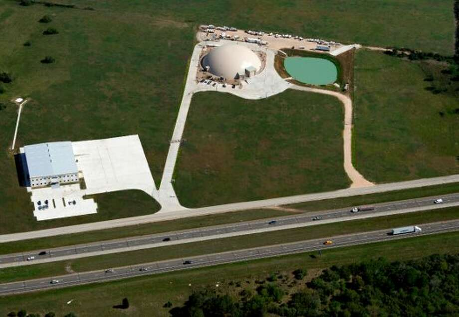 Aerial view of ABC Domes' Texas headquarters in Sealy.