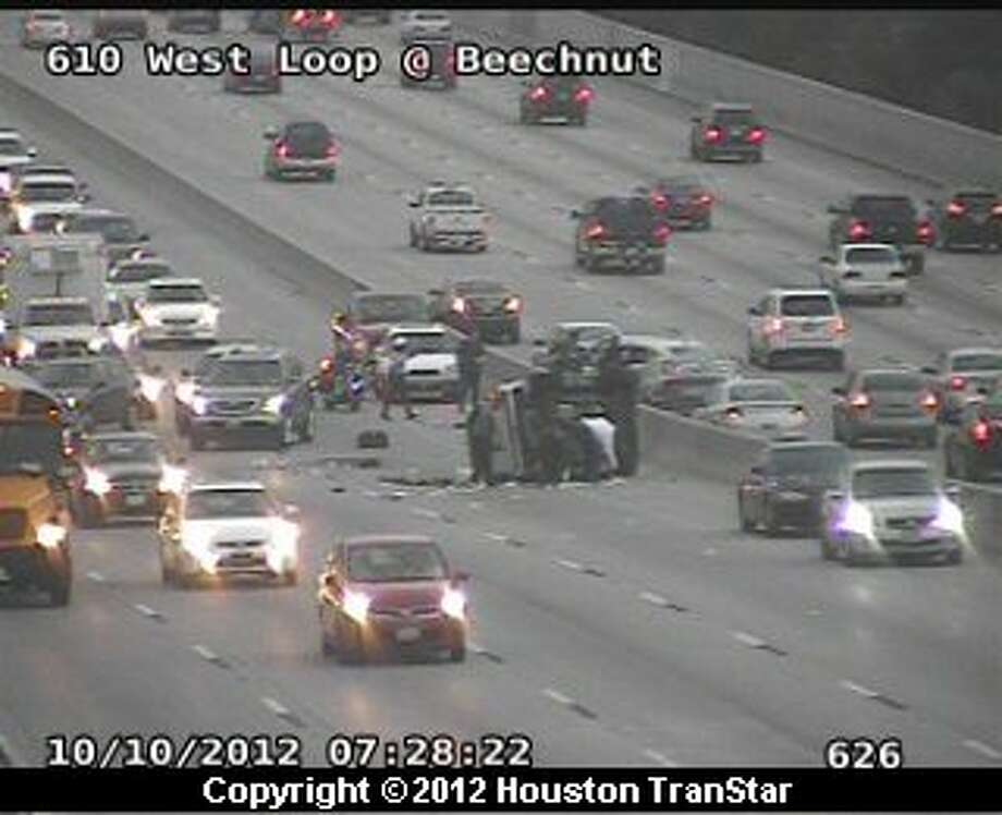 Traffic was snarled on the West Loop after a 2-vehicle crash near Beechnut about 7:30 a.m. Wednesday. Photo: Houston Transtar