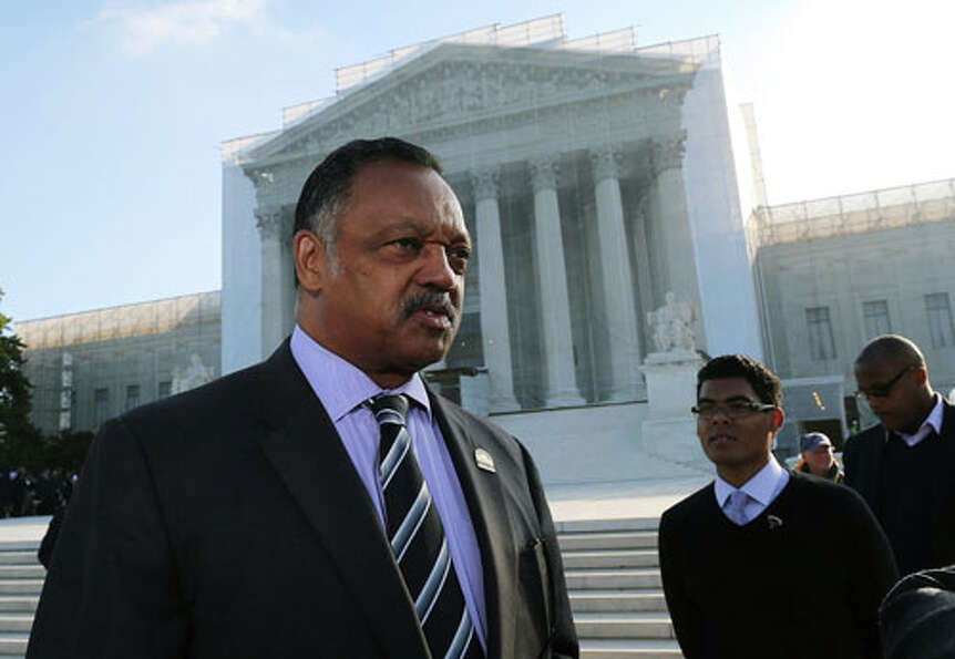 WASHINGTON, DC - OCTOBER 10:  Rev Jesse Jackson Sr stands in front of the U.S. Supreme Court on Octo