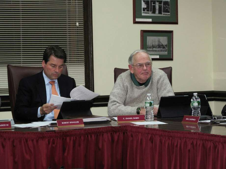 Board of Finance members Robert Spangler and Daniel Ward at the meeting on 10/09/12. Photo: Tyler Woods