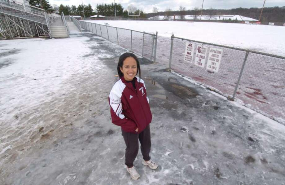 Yvonne Grimes, photographed at Bethel High School track Thursday, Dec 10, 2009. Photo: Chris Ware / The News-Times