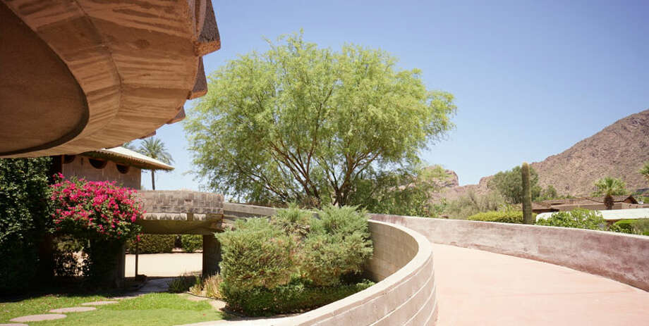The spiral ramp leads to the main level of the home, which sits on 2 acres facing Camelback Mountain (Photo by Scott Jarson  / savethewrighthouse.org)