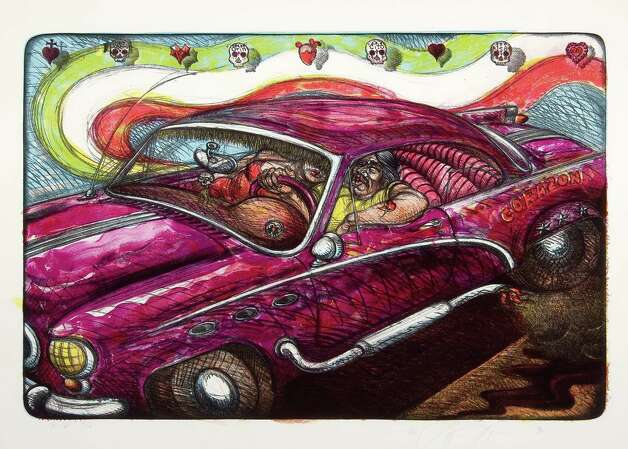 "Luis A. Jimenez's 1997 lithograph ""El Corazon Lowrider"" is featured in ""Estampas de la Raza"" at the McNay Art Museum. Photo: Courtesy McNay Art Museum"