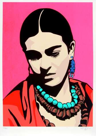 "Raul Caracoza 2006 ""Young Frida (Pink)"" is featured in ""Estampas de la Raza: Contemporary Prints from the Romo Collection"" at the McNay Art Museum. Photo: McNay Art Museum"