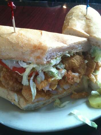 Fried shrimp po'boy at Liuzza's by the Track in New Orleans.