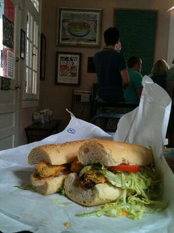 "The ""Peacemaker"" po'boy (fried oysters, bacon and cheddar cheese, is a favorite at Mahoney's Po-Boy Shop on Magazine Street in New Orleans."