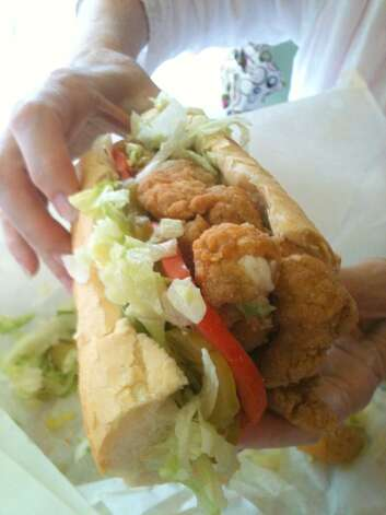 Fried shrimp po'boy at Parkway Bakery & Tavern in New Orleans.