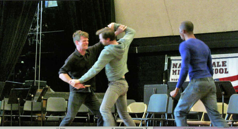 "During the Speaking Daggers program held at Nathan Hale Middle School, actors perform a fight scene from the segment that uses ""Romeo and Juliet"" to teach students about combating  bullying. Photo: Contributed Photo"