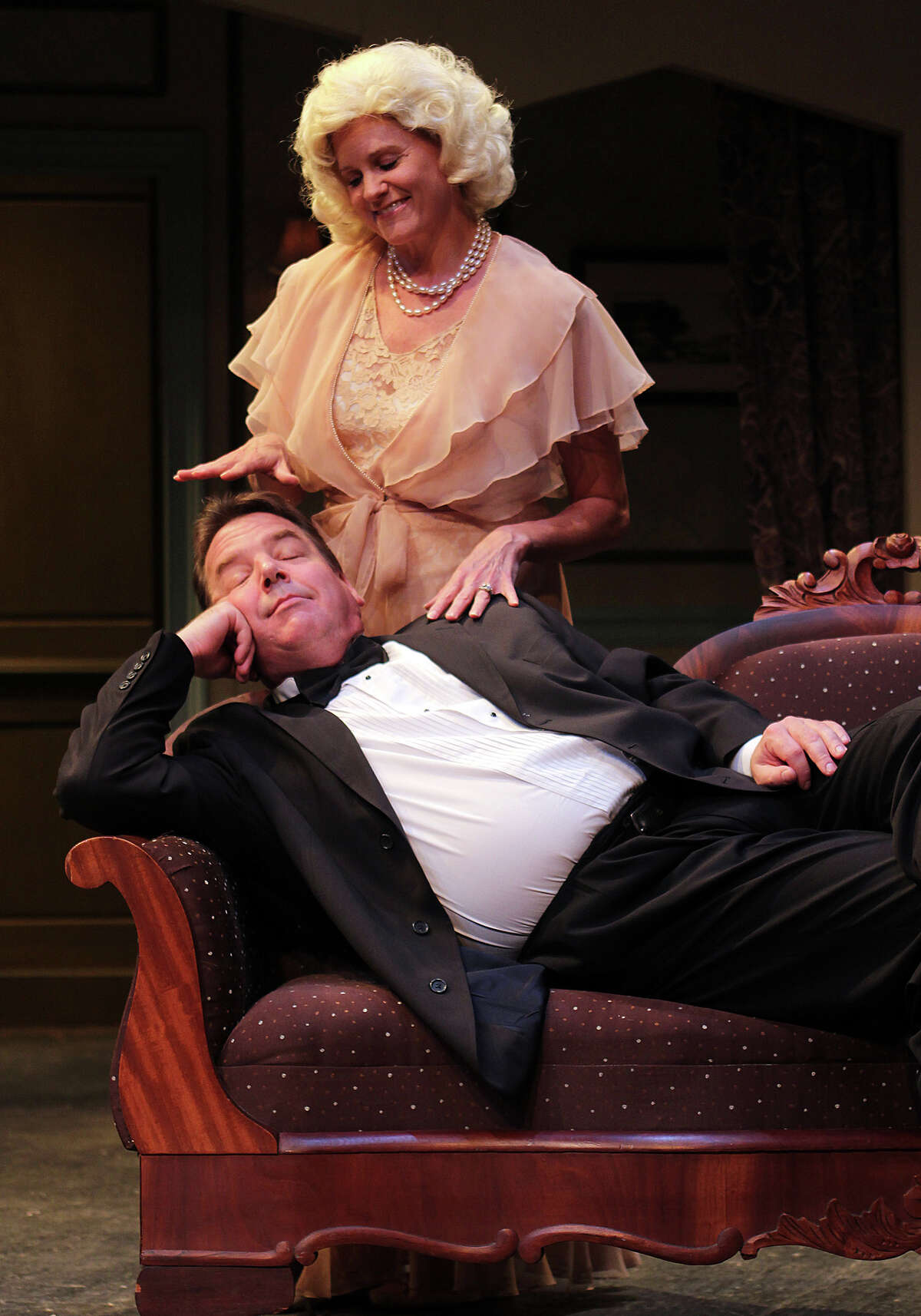 """Cristine Loffredo and Robert L. Hegeman in Schenectady Civic Player's fall 2012 production of """"Blithe Spirit."""" (Tom Killips)"""