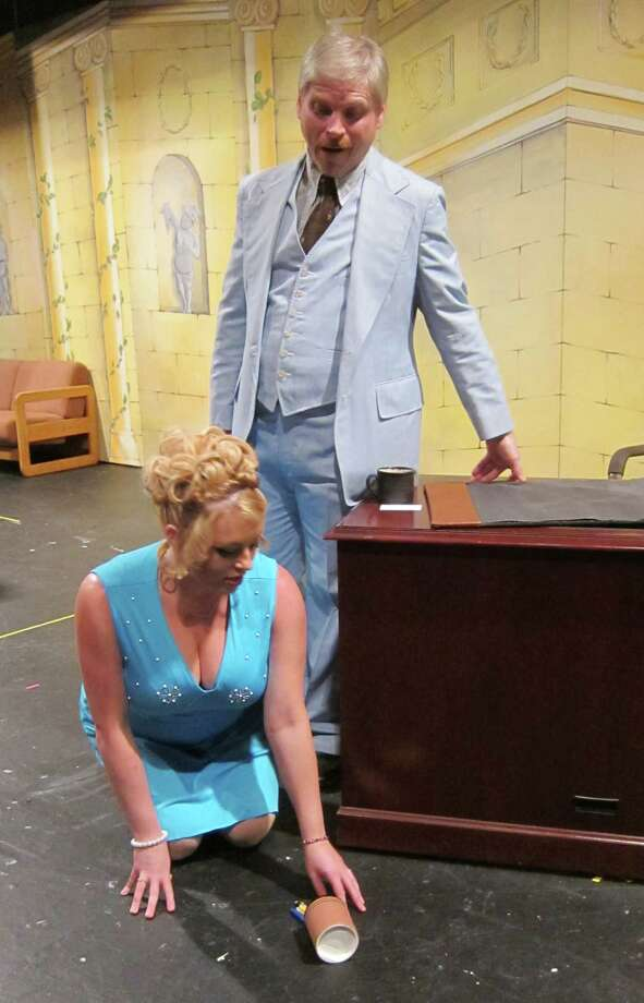"Molly McGrath as Doralee Rhodes, John Sutliff as Franklin Hart, Jr. in Home Made Theater's ""9 to 5."" (Home Made Theater)"