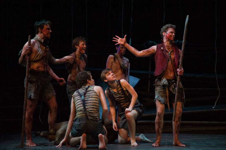 Cast of LORD OF THE FLIES at Barrington Stage Company. Photo by Kevin Sprague.