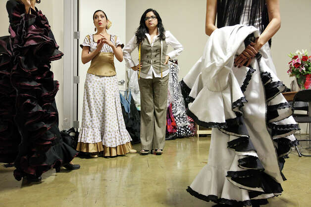 Monica Moncivais (left), designer Lisa Perello  and others wait backstage for the start of the Perello All Flamenco Fashion Show.   The demand for designers such as Perello has grown with the popularity of flamenco. Photo: Edward A. Ornelas, San Antonio Express-News / © 2012 San Antonio Express-News
