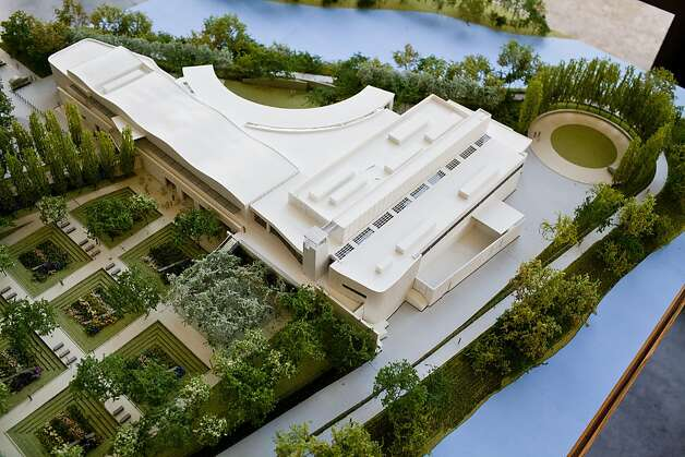 An architectural model shows the Copia structure, and the site that is bounded by the river on three sides. Photo: Jason Henry, Special To The Chronicle