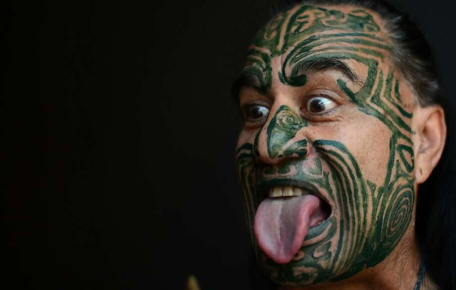 So what do you think of Schwarzenegger's new book?Wetini Mitai makes a Maori grimace at the 63rd Frankfurt Book Fair, which this year is honoring New Zealand. Photo: Johannes Eisele, AFP/Getty Images
