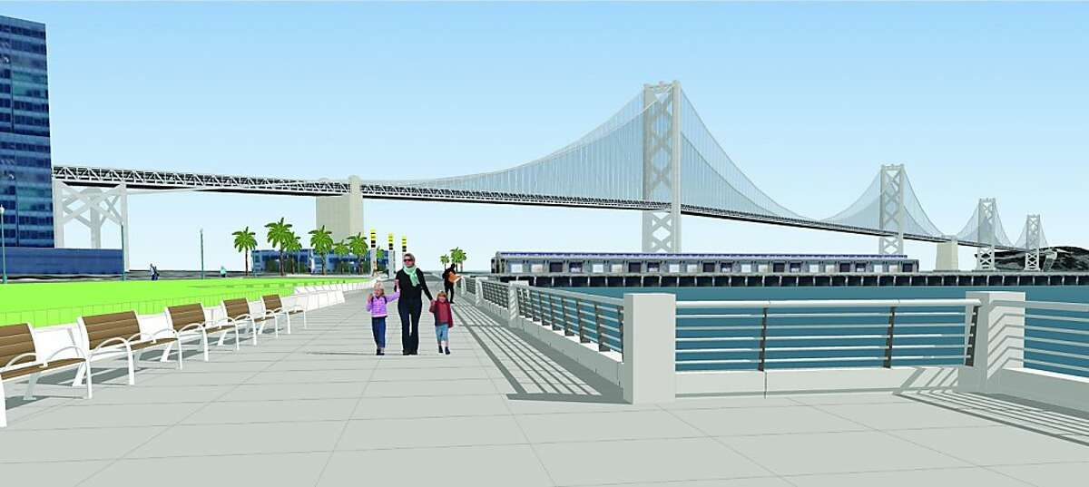The design for San Francisco's Brannan Street Wharf, which opens in the summer of 2013, includes a railing that is solid on the bottom -- part of the strategy to prepare in advance for the possibility of rising sea levels