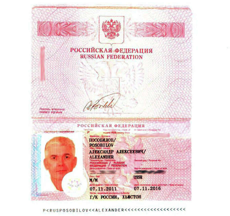 A Russian passport issued to a major player in the case. Photo: Chronicle
