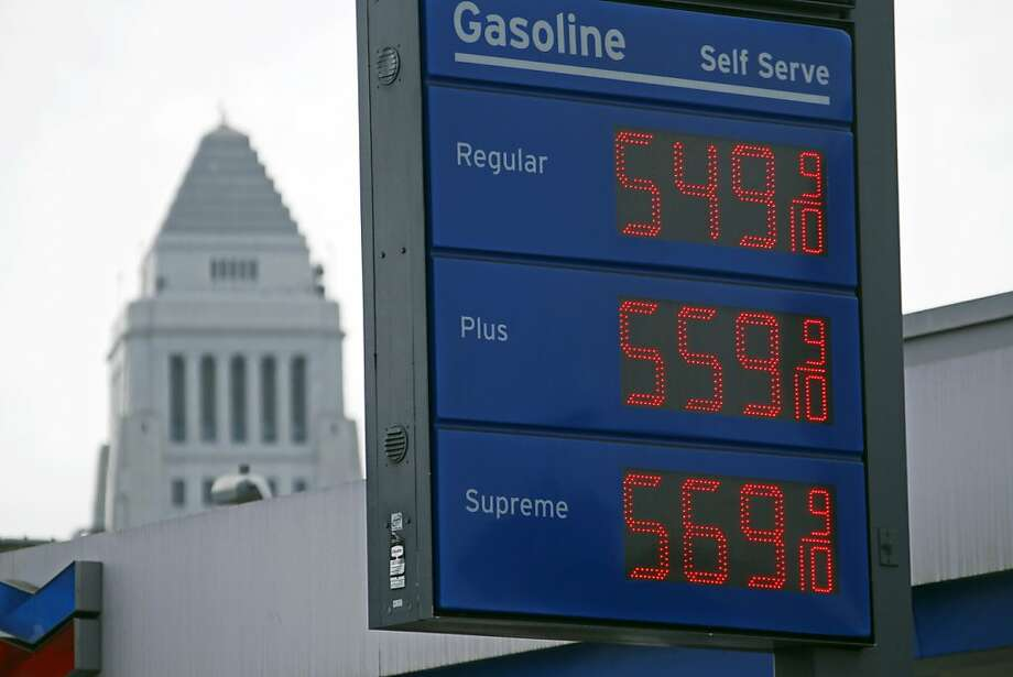 Gas at a station near Los Angeles City Hall is more expensive than the state's average price. Photo: Reed Saxon, Associated Press
