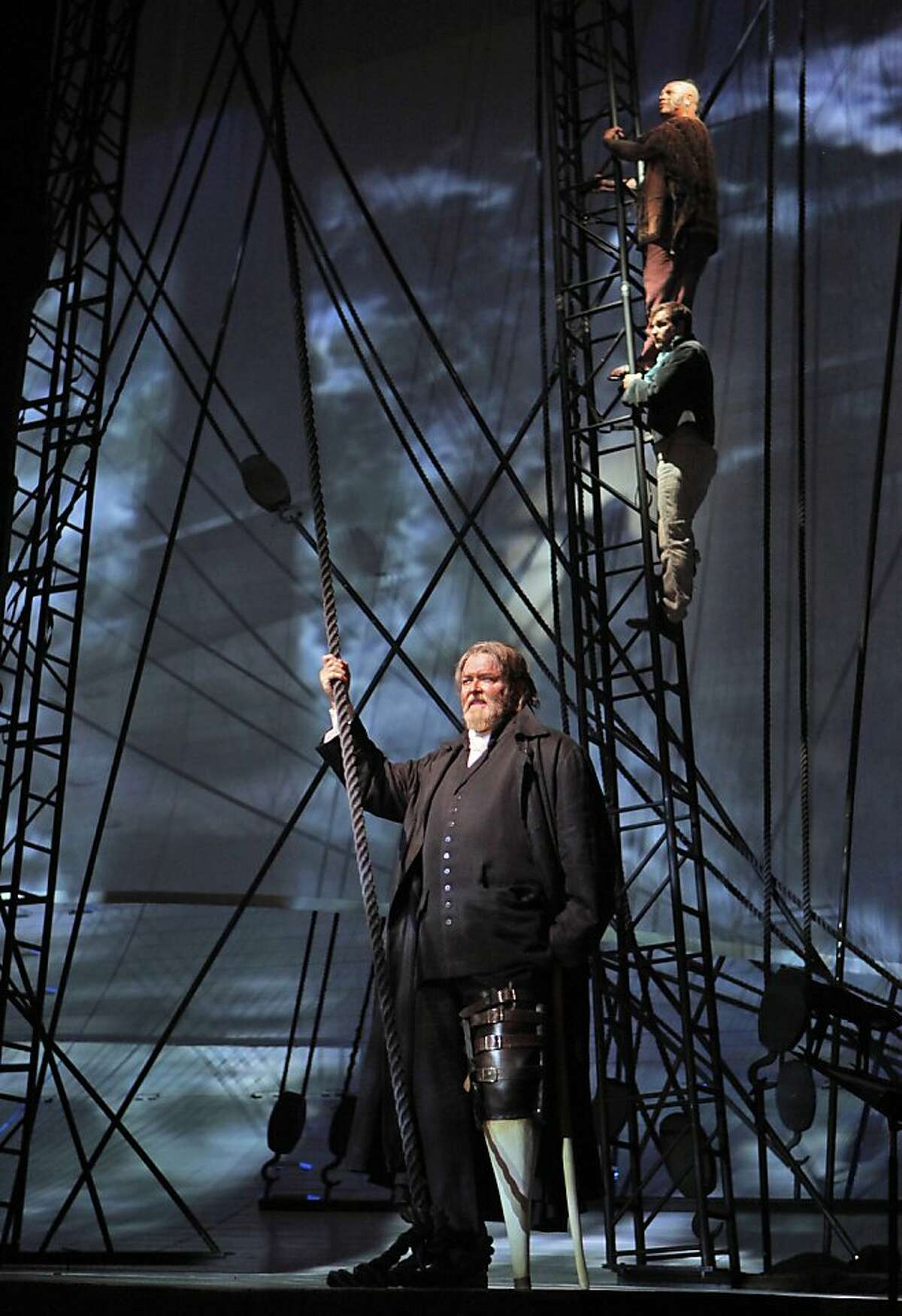 Moby Dick Jay Hunter Morris (Captain Ahab), Stephen Costello (Greenhorn) and Jonathan Lemalu (Queequeg).