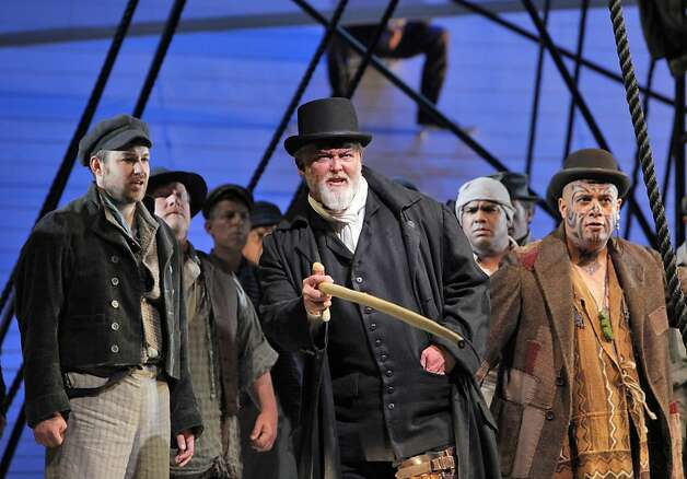 "Stephen Costello (left) is Greenhorn, Jay Hunter Morris is Ahab and Jonathan Lemalu is Queequeg in expressive ""Moby-Dick."" Photo: Cory Weaver, SF Opera / SF"