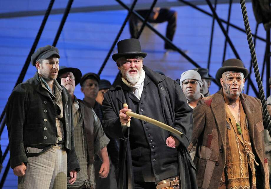 "Jake Heggie and Gene Scheer's ""Moby-Dick,"" with Stephen Costello (Greenhorn, left), Jay Hunter Morris (Captain Ahab) and Jonathan Lemalu (Queequeg), was beautiful and probing. Photo: Cory Weaver, SF Opera"