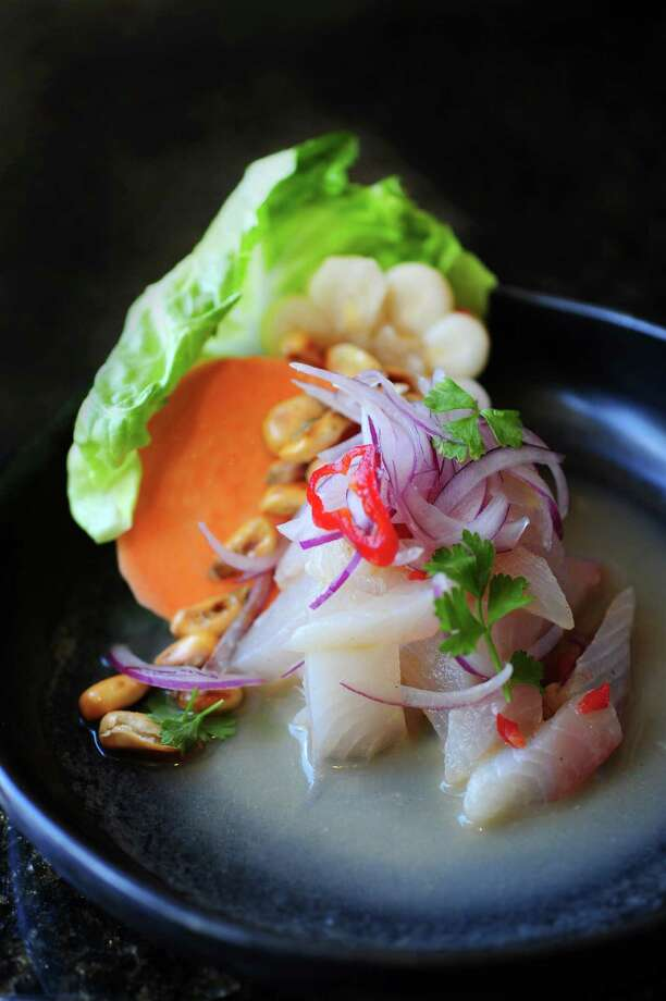 Cebiche of white fish with aji limo leche de tigre, choclo, red onions, sweet potato and cilantro. Photo: Debora Smail / Debora Smail