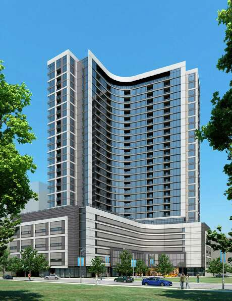 Hanover Post Oak, shown in this rendering, will be 29 stories tall and include 355 high-end apartments. Photo: Hanover Co.