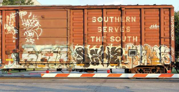 This boxcar was seen rolling on the tracks that run between the Police Station and the Jefferson County Sheriffs offices. Dave Ryan/The Enterprise