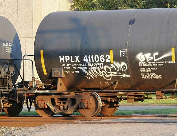 This tank car was seen rolling on the tracks that run between the Police Station and the Jefferson County Sheriffs offices. Dave Ryan/The Enterprise