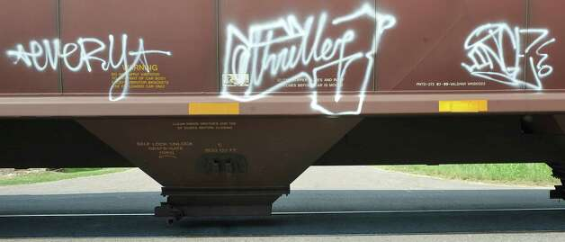This hopper car was seen rolling on the tracks that run down the center of Long Street in Beaumont.    Dave Ryan/The Enterprise