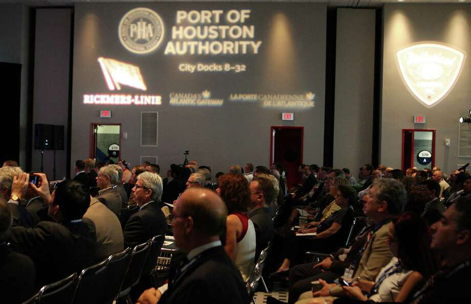 Breakbulk Americas 2012 conference  attendees during a speaking session in the George R. Brown Convention Center Wednesday, Oct. 10, 2012, in Houston.  ( James Nielsen / Chronicle ) Photo: James Nielsen / © Houston Chronicle 2012