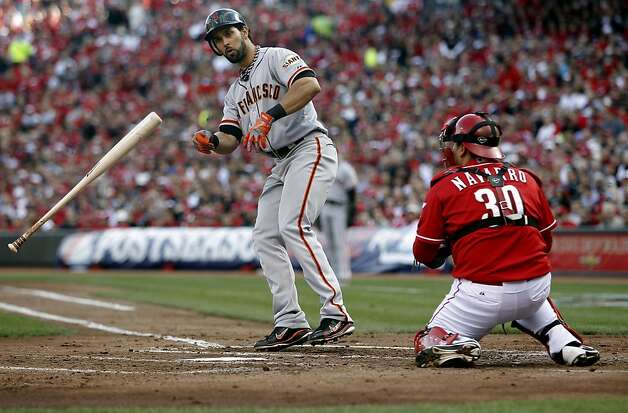 Giants' Angel Pagan walks in the second inning, as the San Francisco Giants take on the Cincinnati Reds in game four of the National League Division Series in Cincinnati, Ohio on Wednesday Oct. 10, 2012. Photo: Michael Macor, The Chronicle