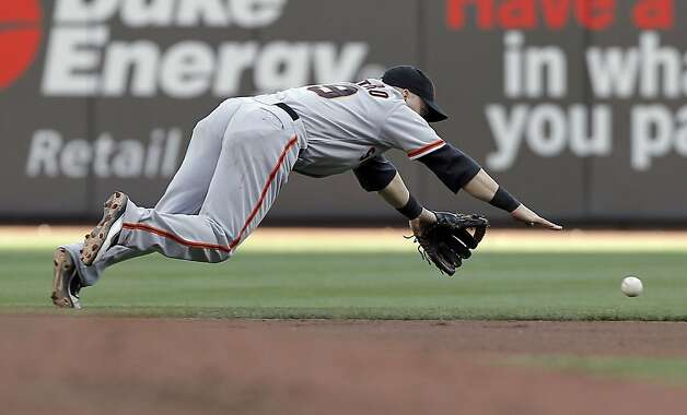 The Giants' second baseman Marco Scutaro has trouble handling a grounder hit by the Reds Zack Cozart in the second inning, as the San Francisco Giants take on the Cincinnati Reds in game four of the National League Division Series in Cincinnati, Ohio on Wednesday Oct. 10, 2012. Photo: Michael Macor, The Chronicle