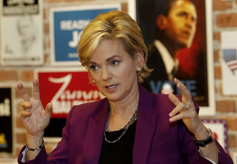 Jennifer Granholm, former Michigan governor and visiting UC Berkeley professor, discusses debate strategy. She was a Sarah Palin surrogate in 2008 for Joe Biden's debate prep. Photo: Brant Ward, The Chronicle