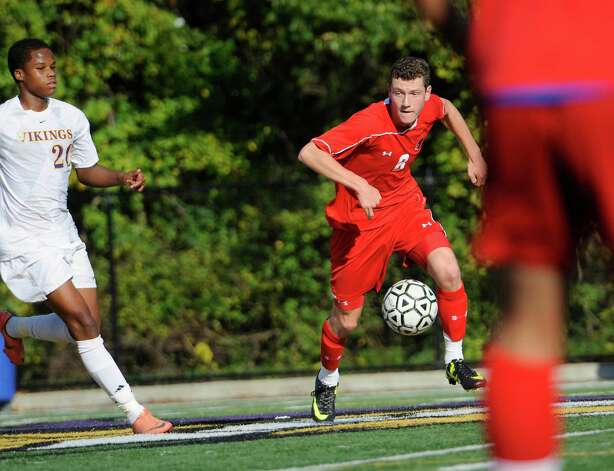 Greenwich high school's Jonathan Palmer controling the ball in a boys soccer game against Westhill high school played at Westhill high school, Stamford, CT on Wednesday October 10th, 2012. Photo: Mark Conrad / Stamford Advocate Freelance