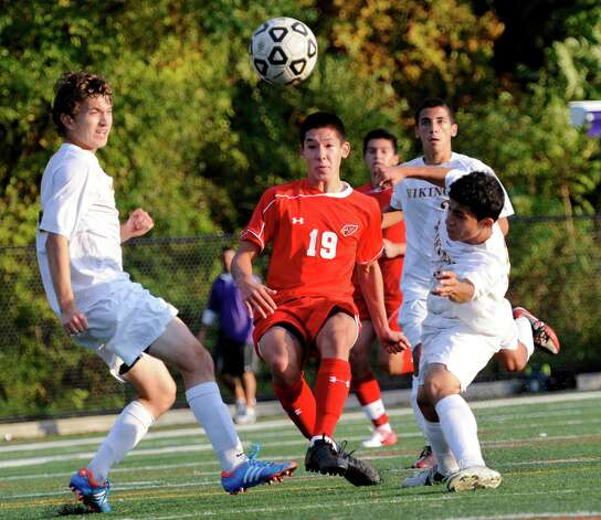 Greenwich high school's Pieter Zenner takes a shot on goal in a boys soccer game against Westhill high school played at Westhill high school, Stamford, CT on Wednesday October 10th, 2012. Photo: Mark Conrad / Stamford Advocate Freelance