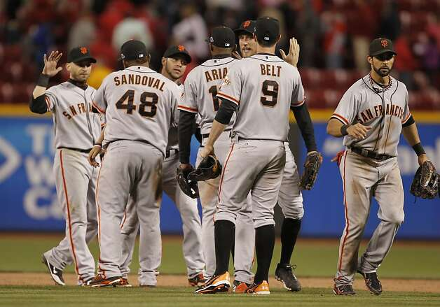 The San Francisco Giants beat the Cincinnati Reds 8-3 to take game four of the National League Division Series in Cincinnati, Ohio on Wednesday Oct. 10, 2012. Photo: Michael Macor, The Chronicle