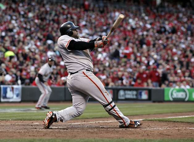 Sandoval had three RBIs, two on this monster home run in the seventh inning that effectively iced the game. Photo: Michael Macor, The Chronicle