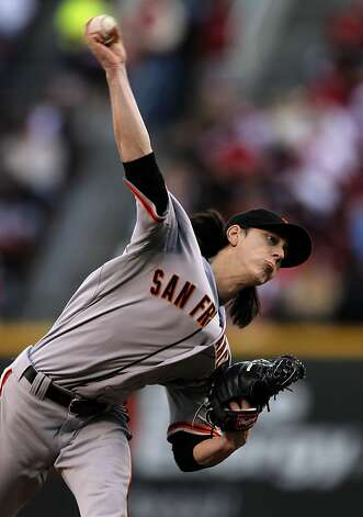 Giants' Tim Lincecum in to pitch, as the San Francisco Giants went on to abeat the Cincinnati Reds 8-3 to take game four of the National League Division Series in Cincinnati, Ohio on Wednesday Oct. 10, 2012. Photo: Michael Macor, The Chronicle