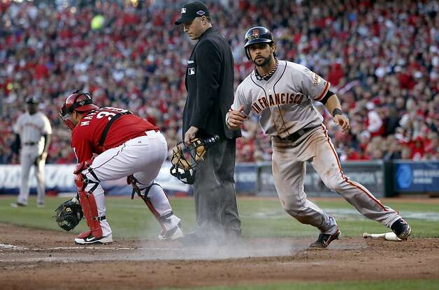 Angel Pagan, who scores on Pablo Sandoval's sacrifice fly in the fifth inning, got the Giants offense started with a home run to lead off the game. Photo: Michael Macor, The Chronicle