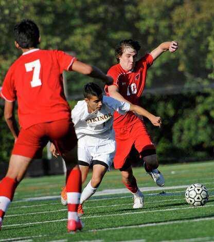 Greenwich high school vs Westhill high school in a boys soccer game played at Westhill high school, Stamford, CT on Wednesday October 10th, 2012. Photo: Mark Conrad / Stamford Advocate Freelance