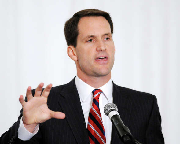 The World Affairs Forum debate between U.S. Rep. Jim Himes, D-Conn., 4th District, pictured here, and Steve Obsitnik, the Republican challenger, at Hyatt Regency Greenwich, Wednesday night, Oct. 10, 2012. Photo: Bob Luckey / Greenwich Time