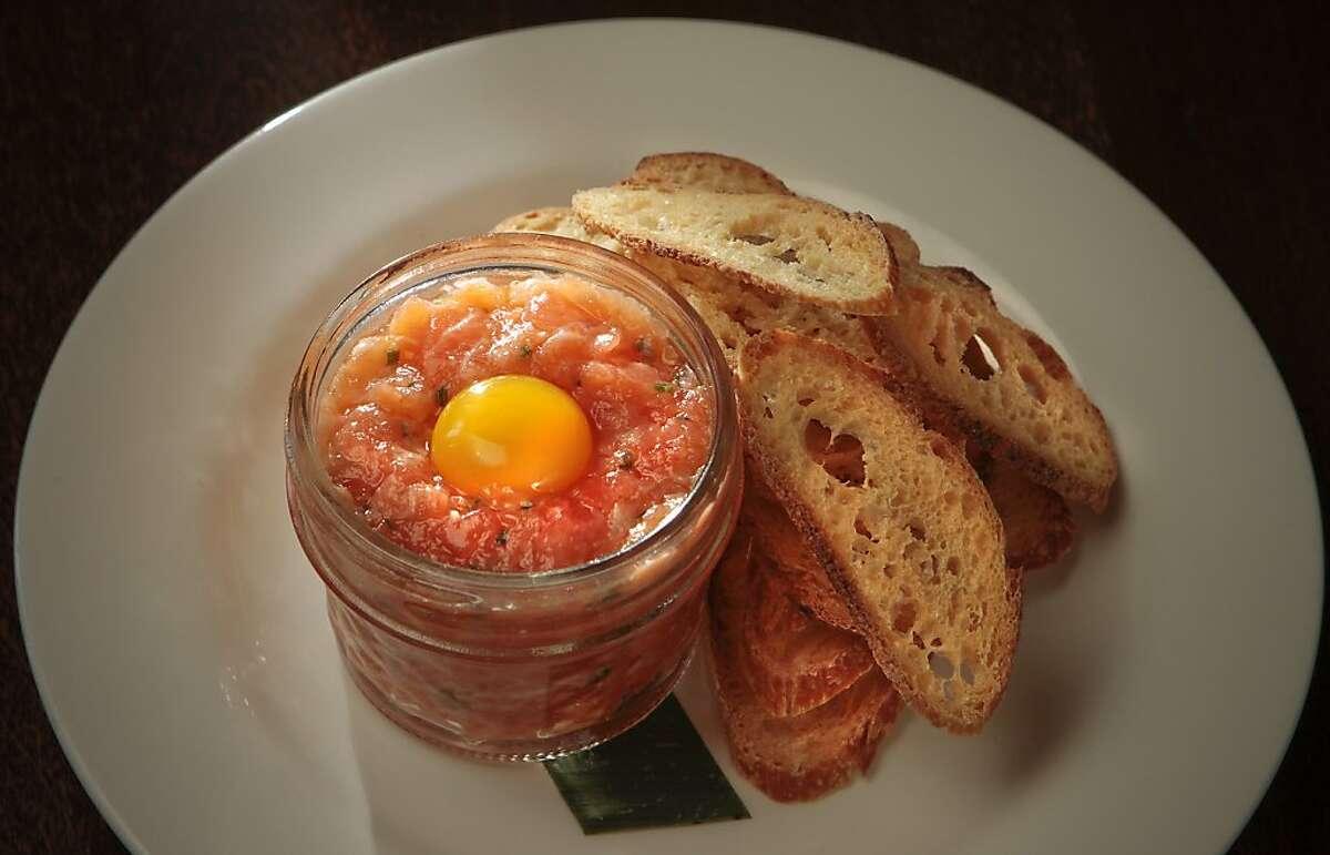 The Fish Tartare in a jar at Bar Terra.