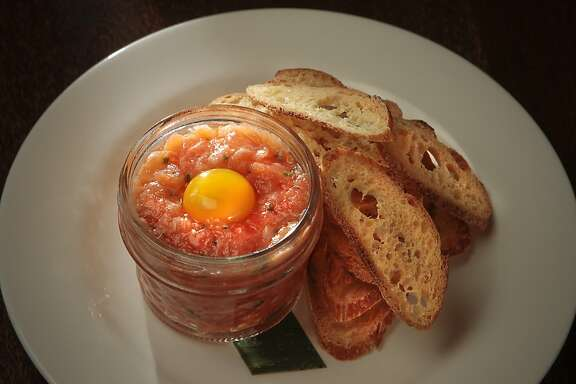 The Fish Tartare in a jar at Bar Terra.